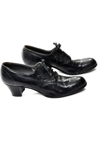 1940's Selby Lace Up Black Leather Oxford Heels Size 9 A Narrow - Dressing Vintage