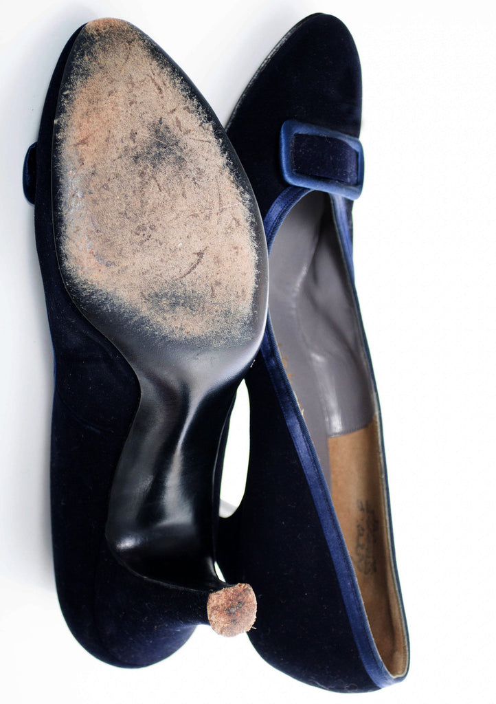 1950s vintage shoes Evins blue velvet