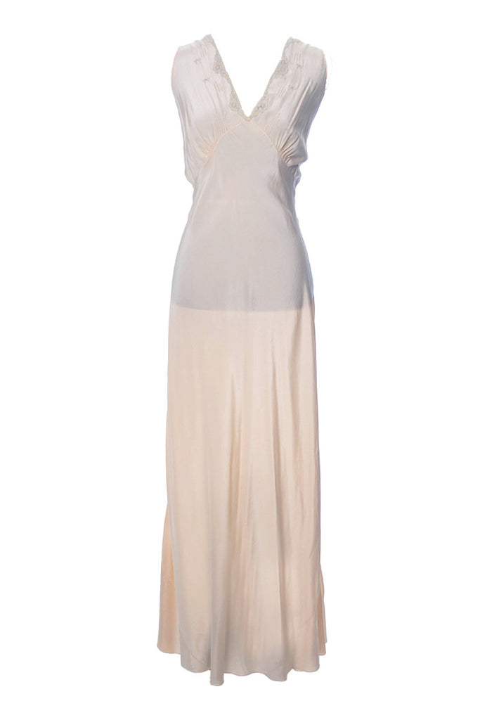 1930s Vintage Nightgown Silk with Embroidery 42