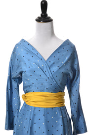 1950's Rare Vintage Blue Silk Dot Dress with Sash - Dressing Vintage