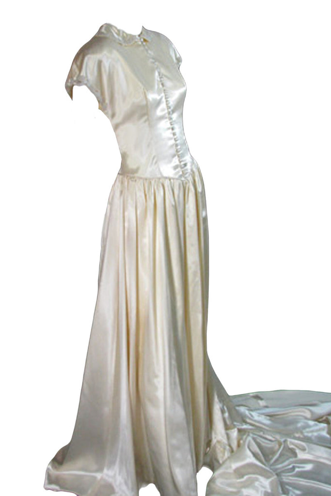 1940s slipper satin wedding dress