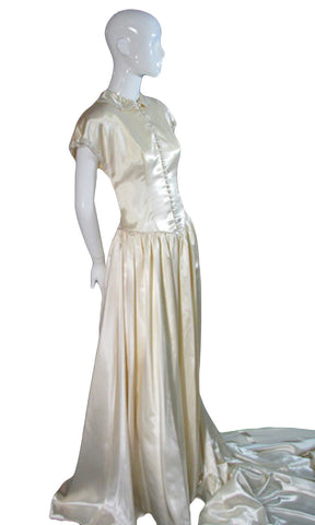 1940s Vintage Wedding Dress in Beaded Satin with Gloves - Dressing Vintage