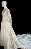1940s beaded vintage wedding dress with gloves