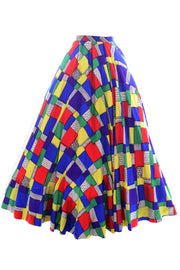 Vintage skirt 1940s satin patchwork designer clothing estate - Dressing Vintage