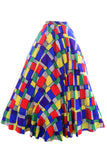 Multi colored geometric full skirt