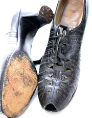 1930s Lace Up Vintage Peep Toe Shoes from Shoe Saver 8N - Dressing Vintage