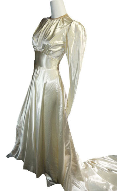 Slipper Satin Vintage Wedding Dress 1940s - Dressing Vintage