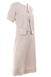 I Magnin 3 Pc Linen Skirt Sleeveless Top & SS Jacket Suit Outfit Vintage Mid Century