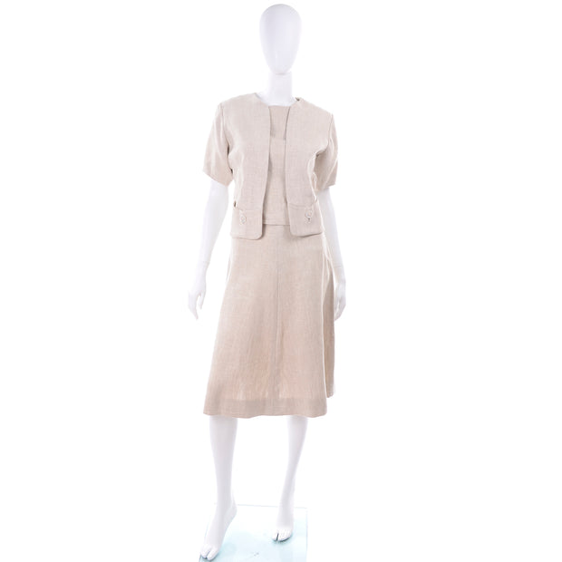 50s 60s I Magnin 3 Pc Linen Skirt Sleeveless Top & SS Jacket Summer Suit Outfit
