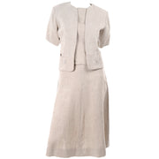 I Magnin 3 Pc Linen Skirt Sleeveless Top & SS Jacket Summer Suit Outfit Vintage
