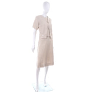 Mid Century I Magnin 3 Pc Linen Skirt Sleeveless Top & SS Jacket Summer Suit Outfit
