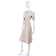 I Magnin 3 Pc Linen Skirt Sleeveless Top & SS Jacket Summer Suit Outfit S/S