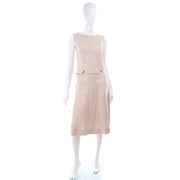 I Magnin 3 Piece Linen Skirt Sleeveless Top & SS Jacket Summer Suit Outfit