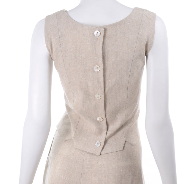 I Magnin 3 Pc Natural Linen Skirt Sleeveless Top & SS Jacket Summer Suit Outfit