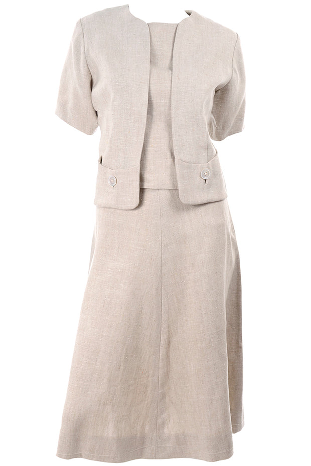 I Magnin 3 Pc Linen Skirt Sleeveless Top & SS Jacket Summer Suit Outfit