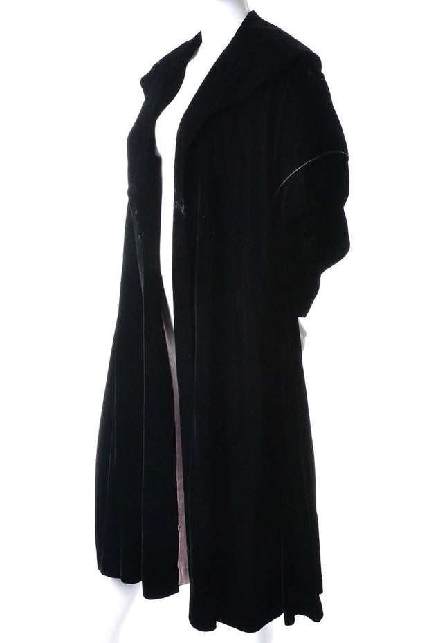 Vintage Black Velvet Opera Coat Evening