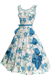 1950's Blue Floral Sleeveless Sundress