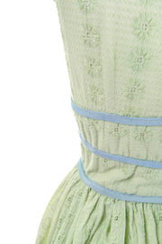 Jerry Gilden green and blue eyelet vintage dress