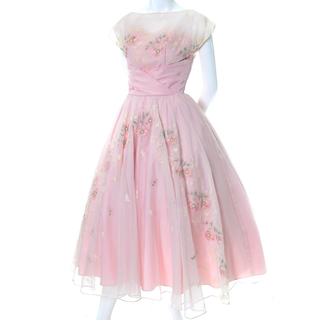 Pink Vintage Dress 1950s Organza Embroidery Illusion Bodice