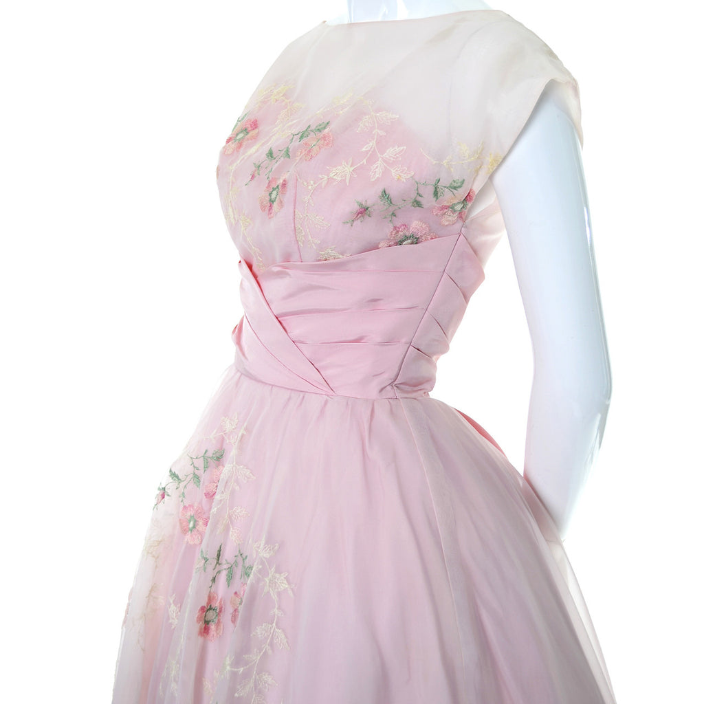 Pink Vintage Dress 1950s Organza Embroidery Fairytale