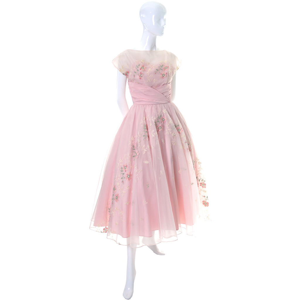 Pink Vintage Dress 1950s Organza Embroidery Tulle