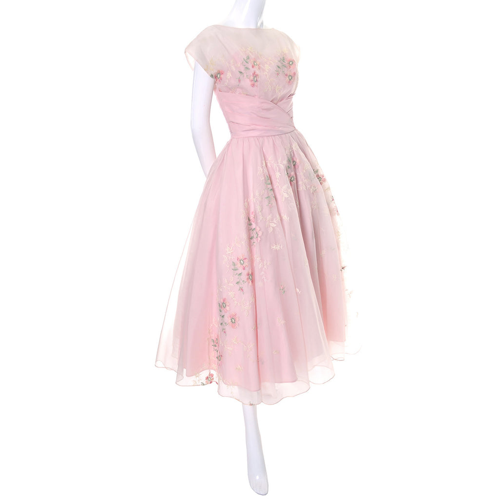 Pink Vintage Dress 1950s Organza Embroidery Gown