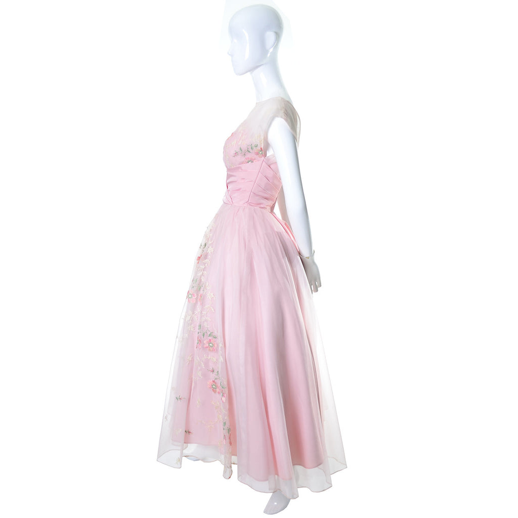 Pink Vintage Dress 1950s Organza Embroidery 50s Evening Gown