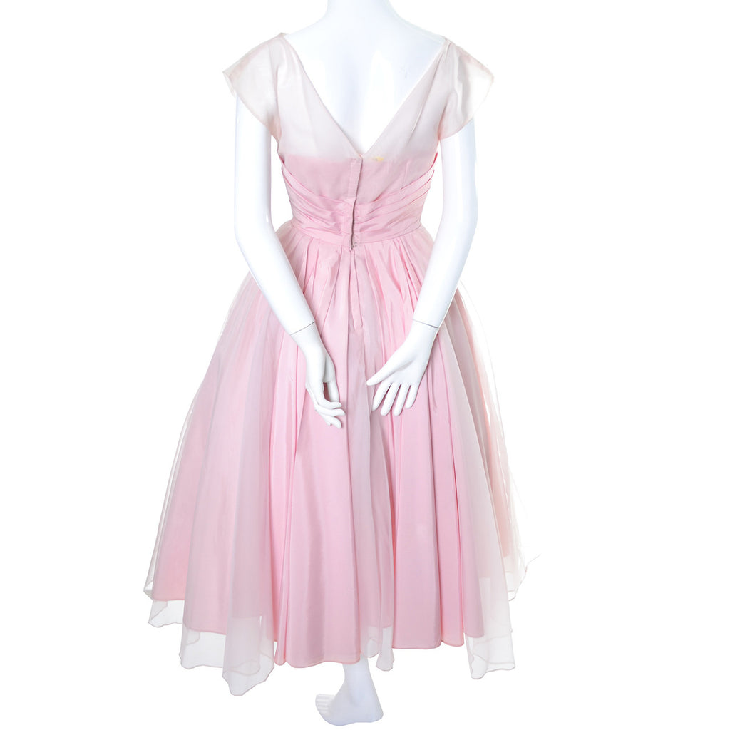 Pretty Pink Vintage Dress 1950s Organza Embroidery