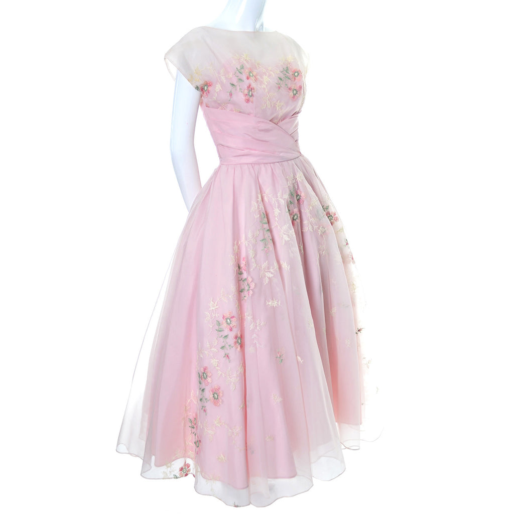 Pink Vintage Dress 1950s Organza Embroidery Embroidered