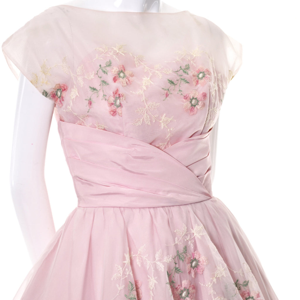 Pink Vintage Dress 1950s Organza Embroidery Evening Gown