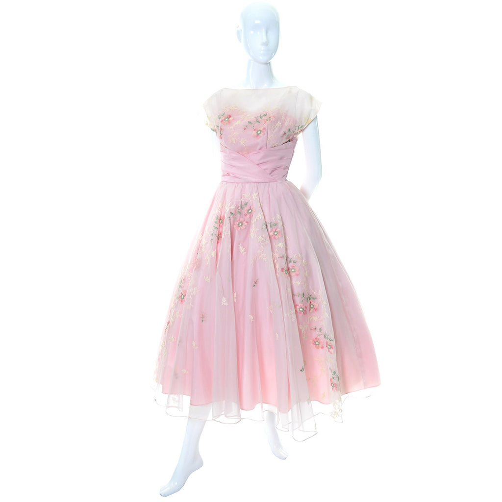 Best Vintage Dress Pink 1950s Organza Embroidery