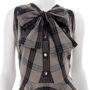 1950s Plaid Claire McCardell Vintage Dress Sash Bow Tie Neck