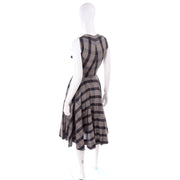 1950s Gray Black Plaid Claire McCardell Vintage Dress