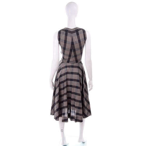 1950s Plaid Claire McCardell Vintage Dress 50s