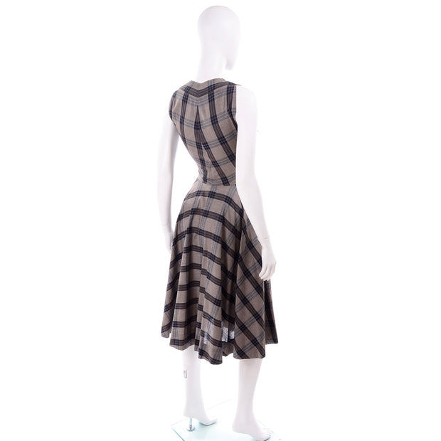 Sleeveless 1950s Plaid Claire McCardell Vintage Dress