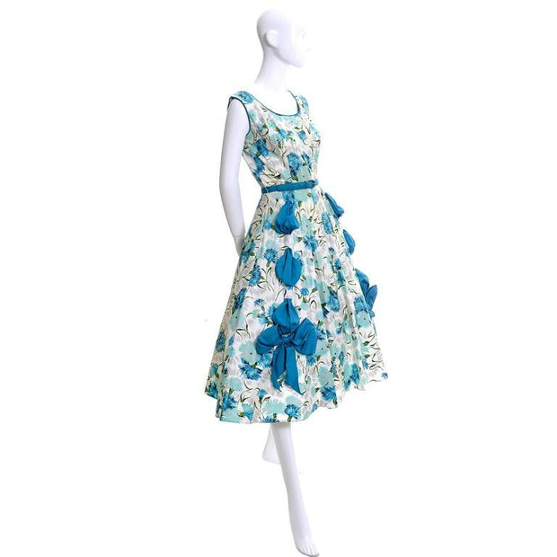 50's Blue Floral Sleeveless Sundress