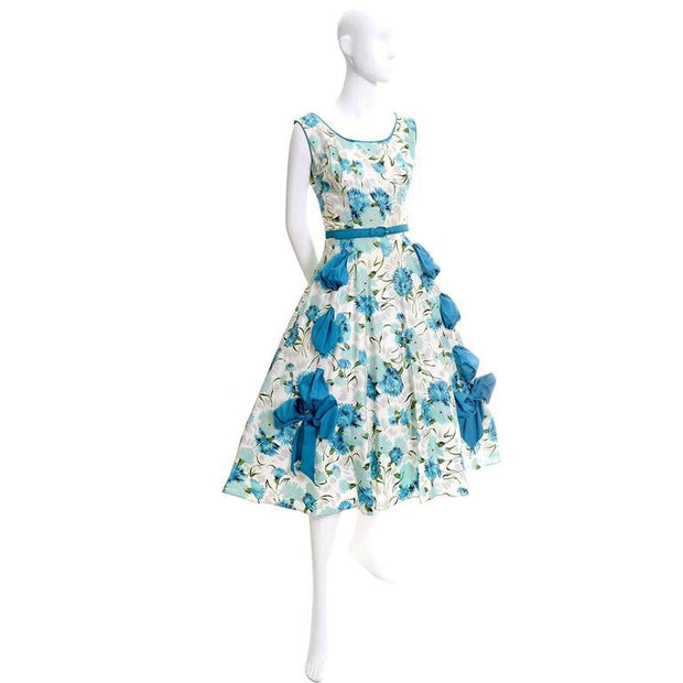 1950's Blue Floral Sleeveless Sundress with Rhinestones