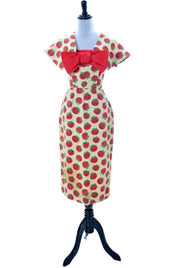 1950s Rose Print Vintage Christian Dior Dress with Detachable Collar and Bow - Dressing Vintage