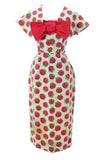 Red floral Christian Dior wiggle dress