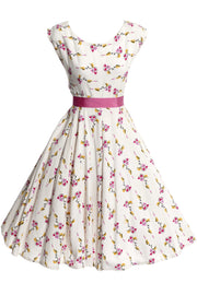1950s Floral Cotton Pique Sleeveless Vintage Dress - Dressing Vintage