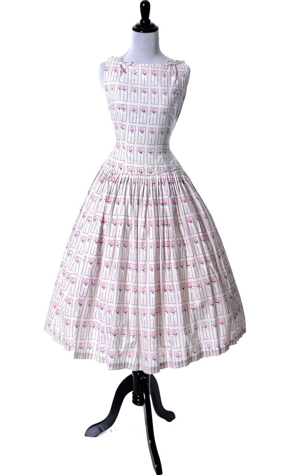 1950's Vintage Dress Pink Roses Bows Size 4 - Dressing Vintage