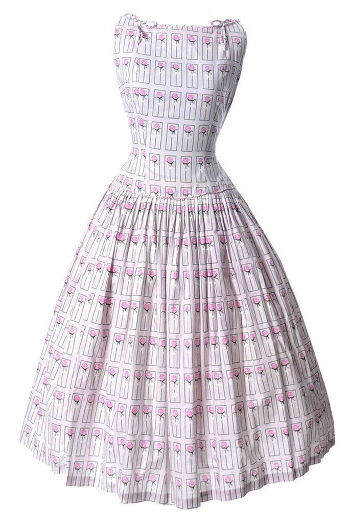 1950s rose and bow print pink sundress