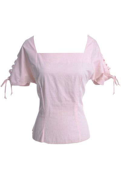 1950's Vintage Joy Stevens Pink Top with Lace Up Sleeves - Dressing Vintage