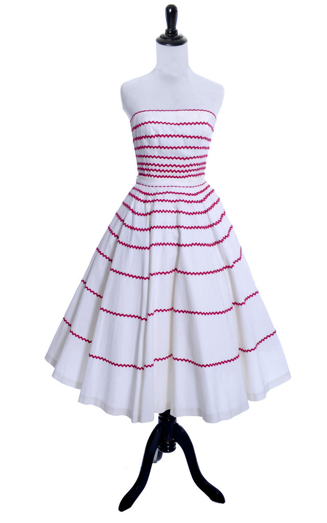 2 piece vintage dress 1950s red and white