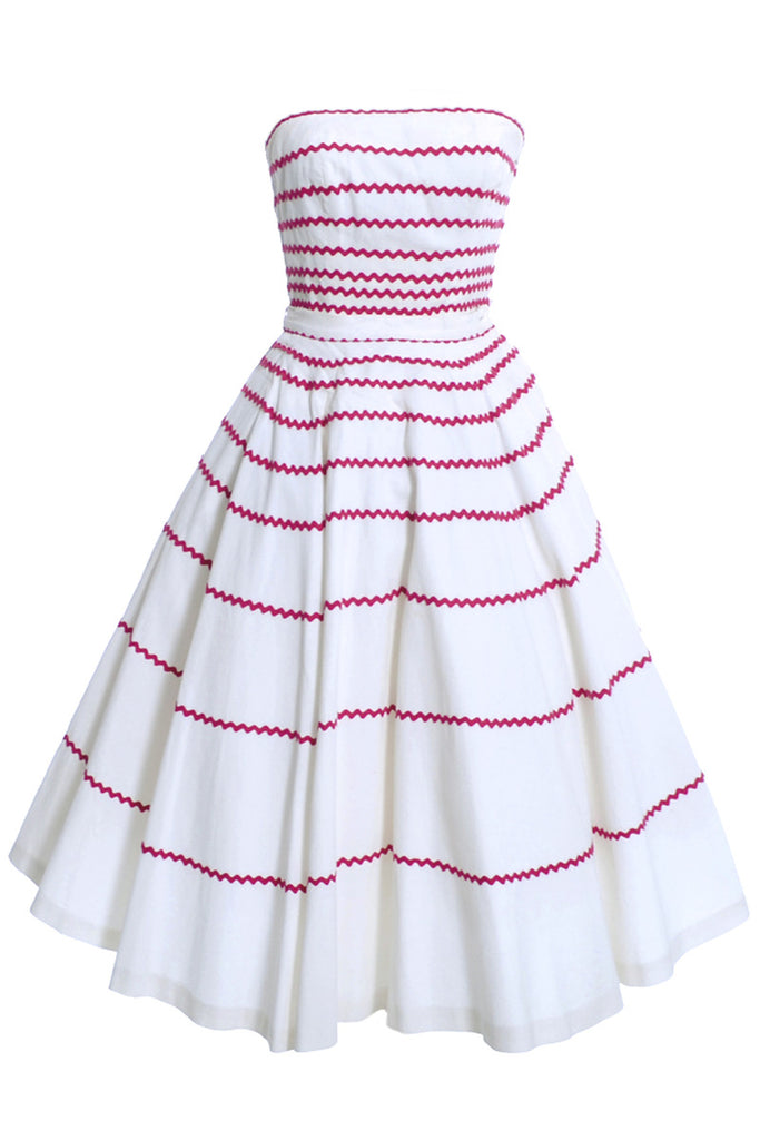1950s strapless red and white striped dress