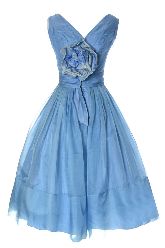 Blue organza 1950s dress with flower
