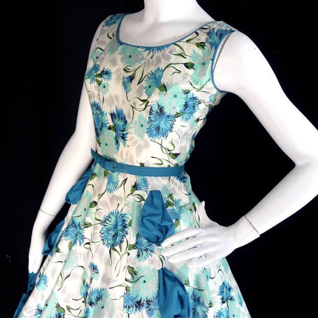 50's Blue Floral Bow Sundress