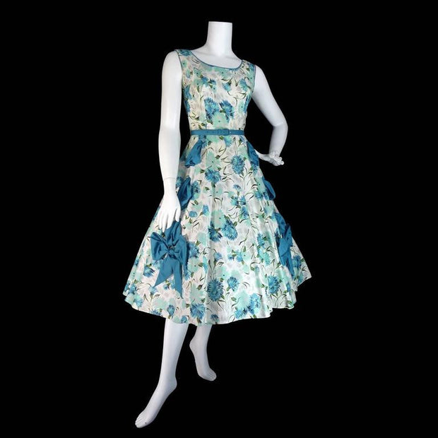 1950's Blue Bow Sleeveless Sundress