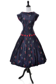1950s Vintage Vicky Vaughn Cherry Print Blue Taffeta Party Dress with Red Trim SOLD - Dressing Vintage