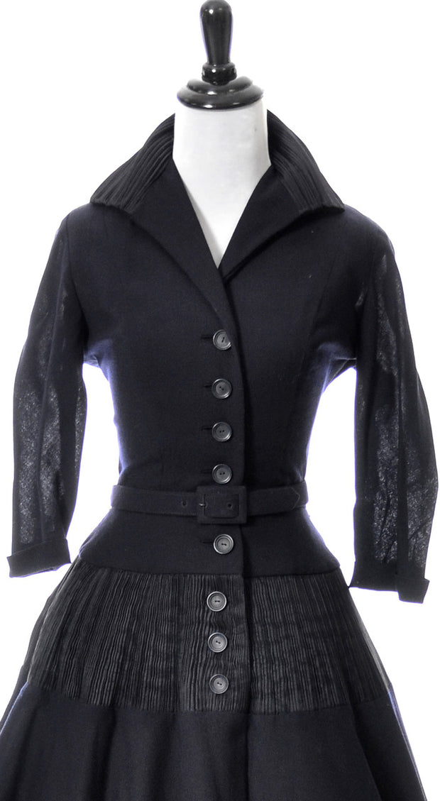 Incredible Mollie Parnis 1950s pleated navy blue perfection dress - Dressing Vintage